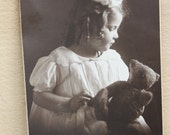 Black & White Antique Photo Childhood Little Girl with Bear