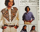 McCall's 6961, Size 14-16-18, Misses' Shirts Pattern, UNCUT, Vintage 1994, Creative Woman's Sewing Pattern by Nancy Zieman, Western Shirt