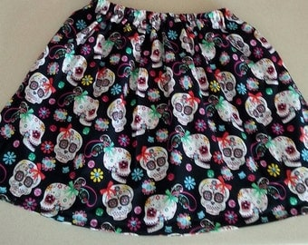 Sugar Skull Skirt Day Of The Dead Skirt Goth Skirt Free Shipping/Ready To Ship