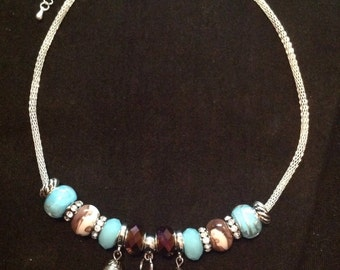 Beaded March Birthday Charm Necklace