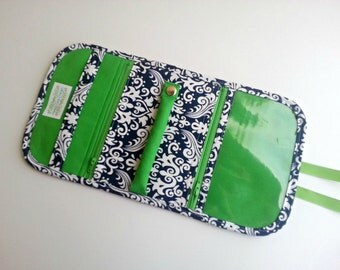 Travel Jewelry Organizer Pouch Clutch quilted in a Navy Damask print