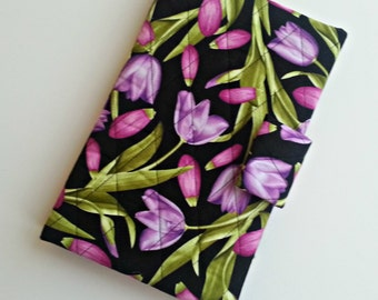 Kindle/Nook/iPad mini/Samsung Tab Cover/case quilted in Purple/Fuschia Tulip print