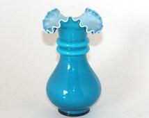 Fenton 7456 Jamestown Blue Overlay Cased Glass Vase - 1957 to 1958