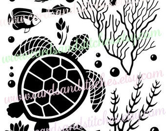 Sea Life SVG - Turtle SVG - Sea Life - Silhouette SVG - Digital Cutting File - Graphic Design - Instant Download - Svg, Dxf, Jpg, Eps, Png