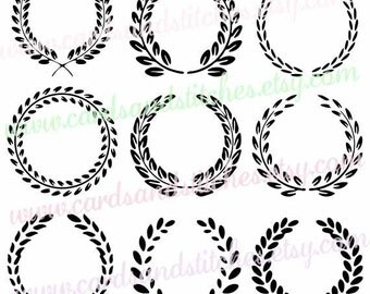leaf circle frames svg monogram frames svg digital cutting file graphic design vector instant download svg dxf jpg eps png