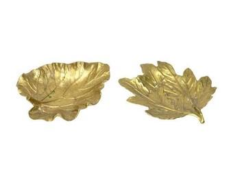 Brass Leaf Dish Brass Leaf Virginia Metal Crafters Leaf Chrysanthemum Leaf Rhubarb Leaf