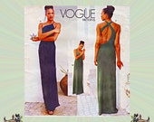 Stunning Cold Shoulder Evening Dress Pattern by Calvin Klein, Dramatic Open Back, Size 6-8-10, Vogue Sewing Pattern 1940, FREE SHIPPING