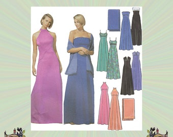Plus Size Evening Dress Pattern with Empire Waist, Princess Seams, and Wrap, Size 16-18-20-22, Bust 38-44, Simplicity Sewing Pattern 5586