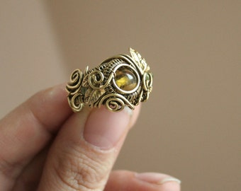 Dragon in the Forest - green amber leaf ring size 7 brass intricate wire wrapped OOAK