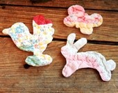 Folk Art Animal Appliques, Vintage Old Patchwork Running Rabbit, Bird, Butterfly, Feedsack Quilted Fabric Prim Embellishments itsyourcountry