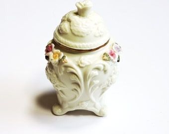 "Vintage Ceramic Container with Lid, Small 5"" Floral Potpourri Jar, Footed Majolica, Cottage Chic Home Decor itsyourcountry"