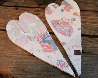 Primitive Feedsack Hearts, Large Upcycled Patchwork Cutter Quilt Heart Appliques, Embellishments set of 2 itsyourcountry