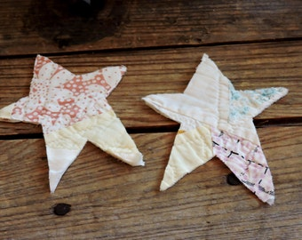 Vintage Star Appliques, 2 Patchwork Old Cutter Quilt Christmas Star Primitive Embellishments, Quilted Fabric Cutout Patches itsyourcountry