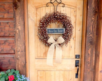 Fall Wreath-Fall Decor-BLESS OUR HOME-Large Pumpkin Orange & Burlap Wreath-Fall Door Decor-Rustic Home Decor-Autumn Decor-Choose Scent