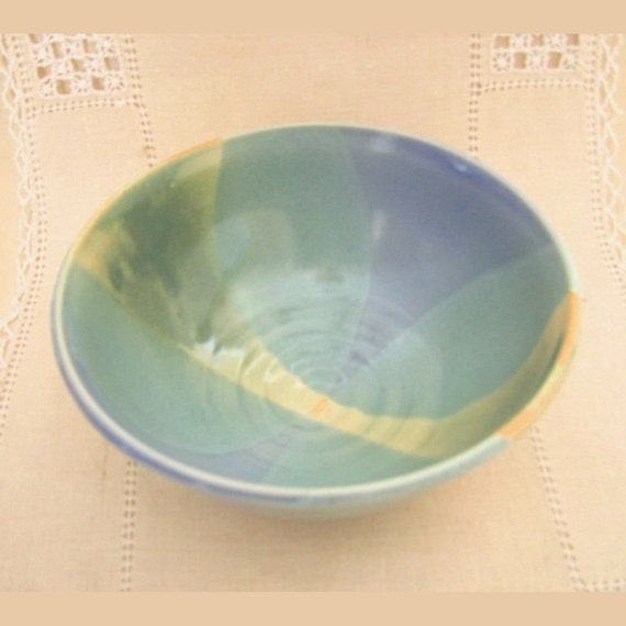 Pottery Cereal Bowl or Soup Bowl in Hand Thrown Stoneware, Dinnerware, Dark Green, Sky Blue, Light Green, Ice Cream Bowl