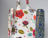 Oilcloth Tote Bag - Graphic Leaf Print in a Cranberry and Olive Green Colour, Shopping Bag, Medium PVC Bag, Lunch Bag