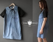 Blue Black Denim Chambray Floral Cotton Day Dress, 60s Style,  Handmade Design