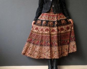 Vintage 70s Indian Wrap Skirt Cotton Hand Block Print Brown Coffee Tones Small Medium