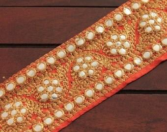 1 Yard Orange Silk Fabric Trim-Golden Thread Embroidered Trim-Orange Silk Sari Border Trim-Art Quilt Fabric Trims-Silk Ribbon By The Yard