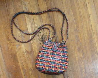 Woven Leather HANDBAG / Cross Body Pouch Purse / Vintage Everyday Bag