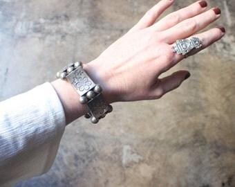 1940's -1950's Bracelet / Sterling Mexico Link Bracelet / Vintage Romantic Silver Jewelry