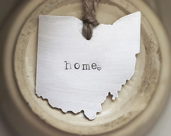 Ohio Christmas Ornament State Love Metal Rustic Brushed Ohio State Heart