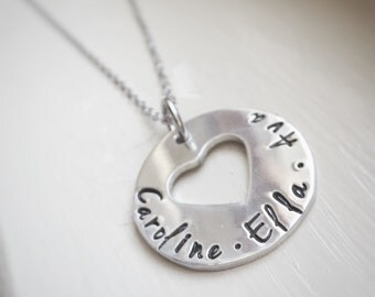 Name Necklace Silver Heart Two Three Four Names Gift for Mom Grandma Jewelry Hand Stamped