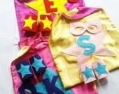 Kid's Personalized Superhero Capes in Satin with matching Mask and cuffs in felt