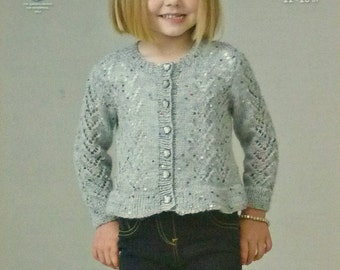 Girls Knitting Pattern K4407 Childrens Long Sleeve Round Neck Lacy Cardigan Galaxy Knitting Pattern DK (Light Worsted) King Cole