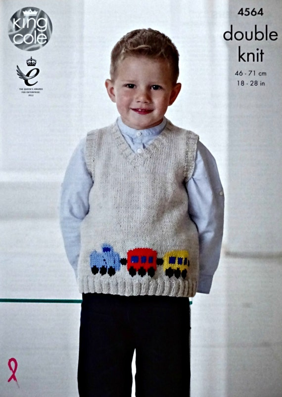 Knitting Pattern V Neck Sleeveless Jumper : Boys Knitting Pattern K4564 Boys Sleeveless V-Neck Jumper with