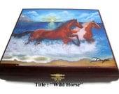 Gift Ideas .Humidor Cigar box  with beautiful Art woks  .  Free Shipping