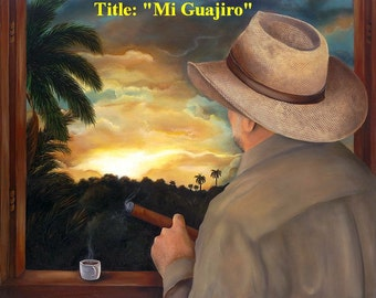 """Gift !! Oil painting  30""""x 24""""  Title : """"Mi Guajiro"""" . Reduced Price . Buy 1 get 2nd 20% Off."""