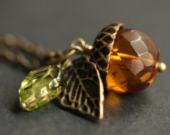 Amber Orange Acorn Necklace. Amber Acorn Pendant. Crystal Acorn Necklace. Glass Acorn Charm Necklace. Bronze Acorn Jewelry Handmade Jewelry.