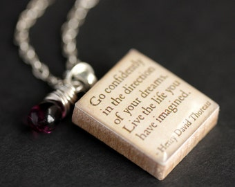 Go Confidently Necklace. Henry Thoreau Quote Necklace. Scrabble Necklace. Thoreau Necklace. Scrabble Pendant with Glass Teardrop.