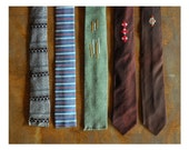 vintage tie collection / skinny square end neckties