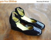 SALE / vintage 1960s shoes / 60s black patent leather ankle strap wedge shes / size 5