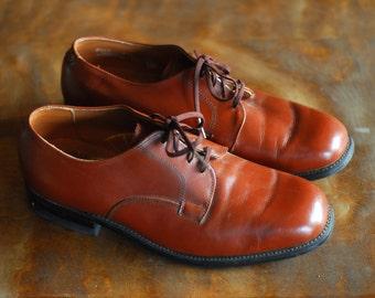 vintage men's shoes / brown leather mason oxfords / size 8.5 EE