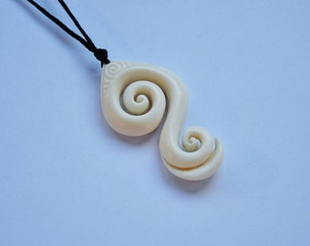 Friendship Bonding Koru, Hand carved with engraving~ Maori symbol