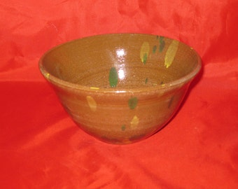 Brown Bowl with Green & Yellow Decoration, Stoneware Ceramic Pottery, Wheel Thrown