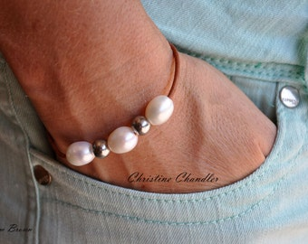NEW - Pearl and Leather Bracelet - Three Pearl and Silver Bracelet - Leather Bracelet with Freshwater Pearls and Silver - Leather Jewelry