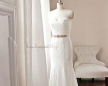 Lace Wedding Dress, FREE Sash Silver Rhinestone Sash, Laced Up Mermaid Wedding Dress, Sexy Wedding Gown