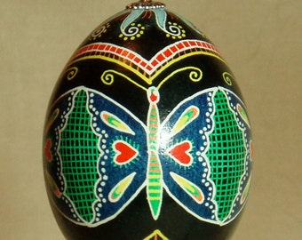 Butterflies and spirals psyanka, Pysanky for Easter
