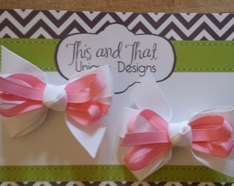 Set of Two Pink and White Toddler Baby Hair Bows with double prong clips