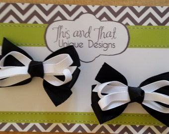 Set of Two Black and White Toddler Baby Hair Bows with double prong clips