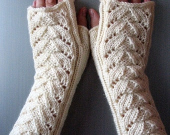 """Fingerless Gloves Arm Warmers White 13"""" Mittens Knit Soft Acrylic, Wool"""