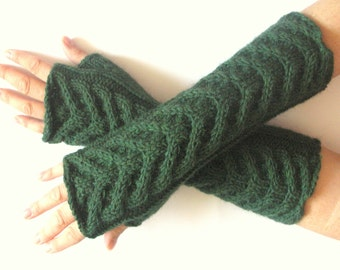 Fingerless Gloves Wrist Warmers Big Warm Mittens Green Knit