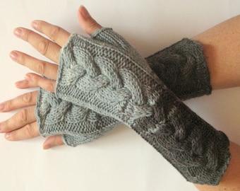 Fingerless Gloves Mittens wrist warmers White Gray Dove Black