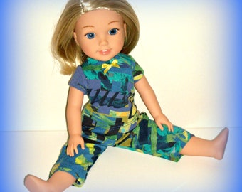 "PJ Pajamas Top and Pants for 14.5"" Dolls such as Wellie Wishers from American Girl, Multicolor Soft Cotton Knit Blues and Greens"