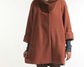 Brick red Wool Overcoat Loose Fitting large size Wool Coat