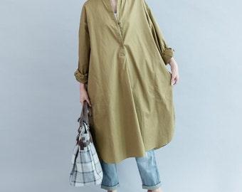 Cotton oversized khaki asymmetric long shirt